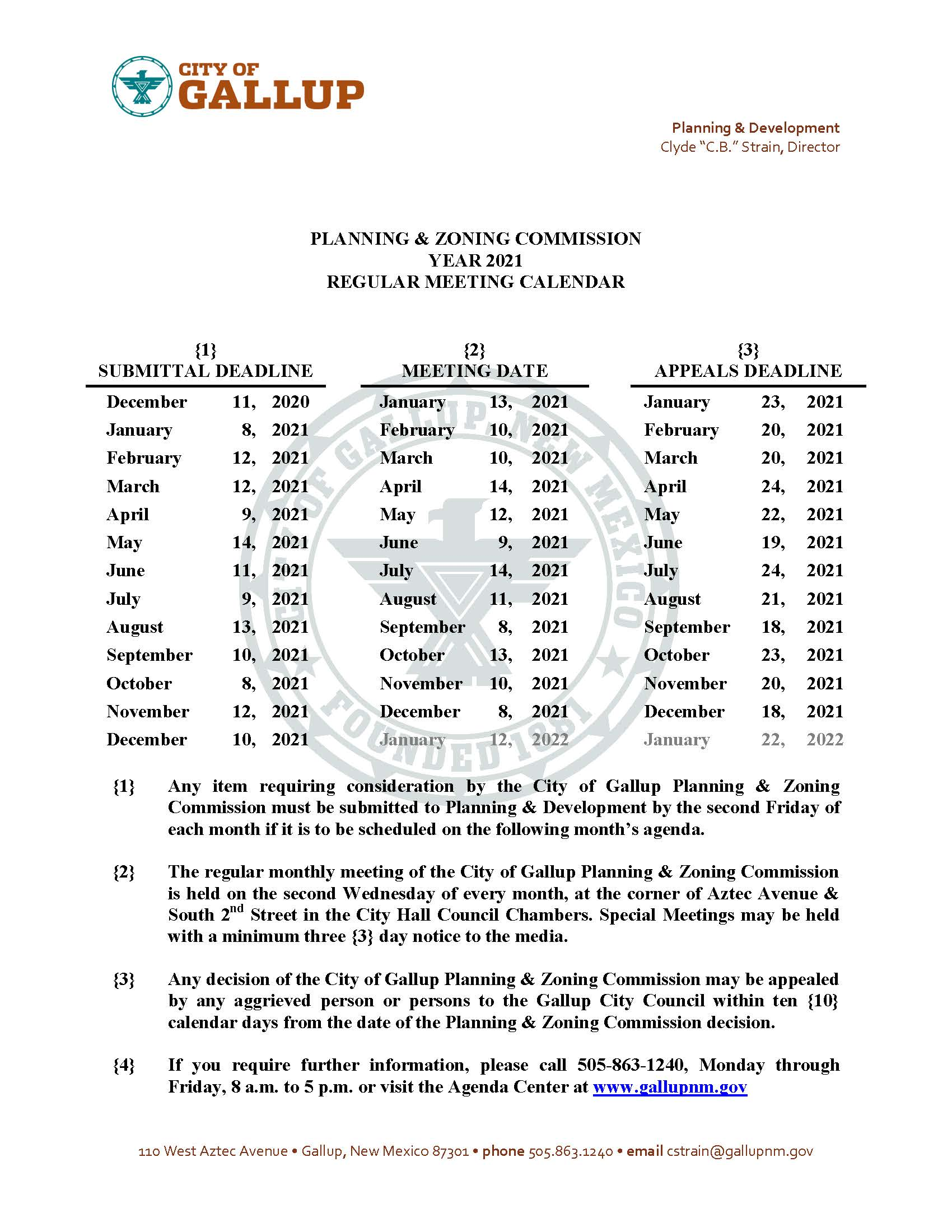 2021 Planning & Zoning Commission Regular Meeting Calendar