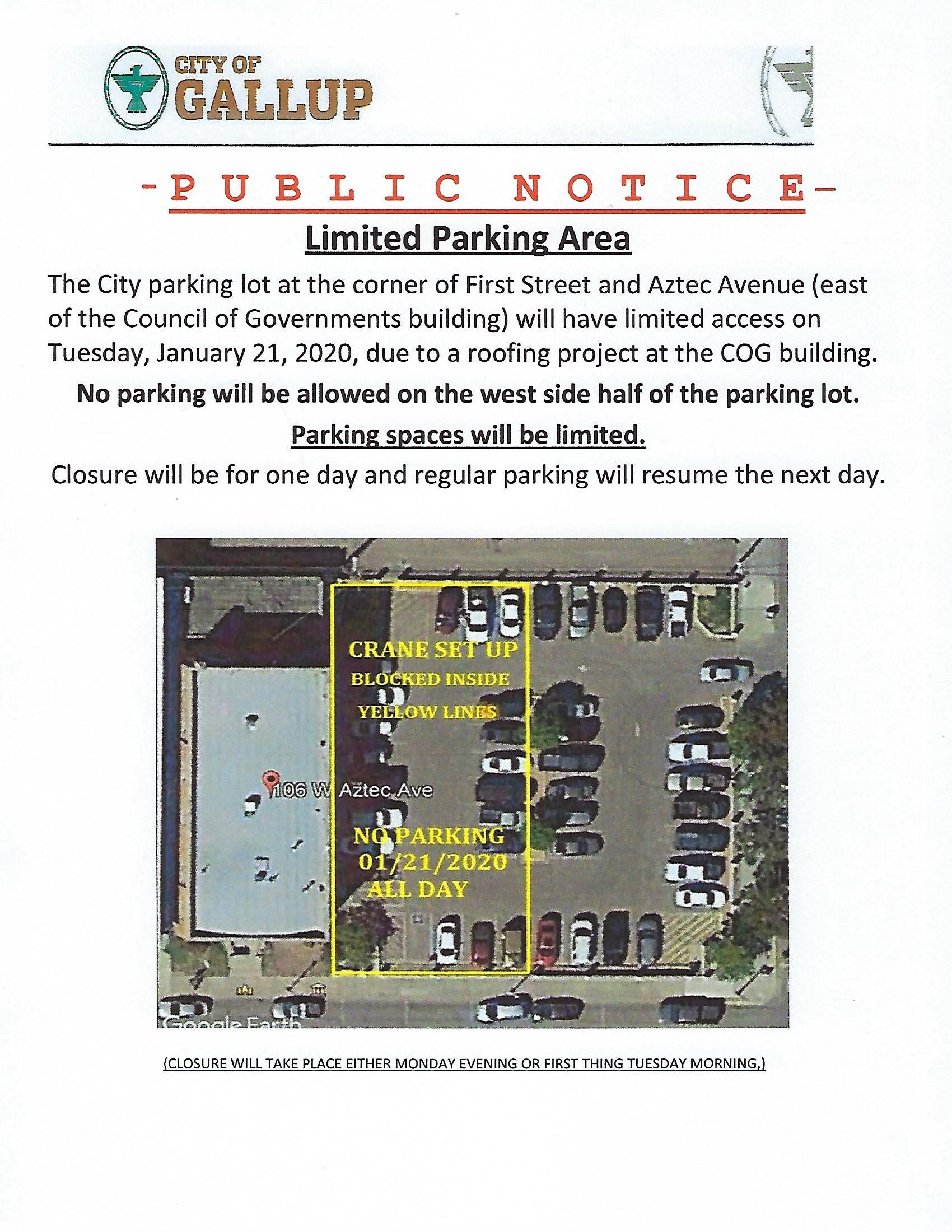 Public Notice COG parking lot